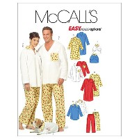 McCall's Patterns M5511 Misses'/Men's/Teen Boys' Tops, Nightshirt , Pants and Top For Dog, Size Z ...