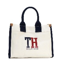 トミー ヒルフィガー TOMMY HILFIGER / MEDIUM TOTE TH HILFIGER GRAPHIC トートバッグ #6929741 610 NATURAL/NAVY/RED【大モノ