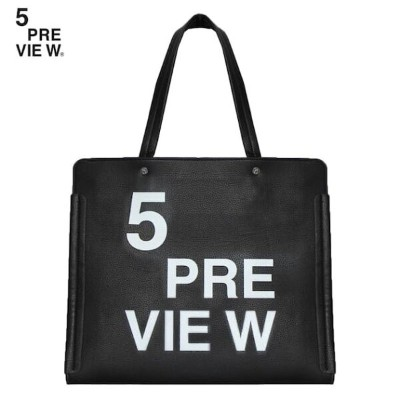 5PREVIEW (ファイブプレビュー) FLORITE BAG (BLACK) [トートバッグ/プリント/ロゴ/PUレザー/UNISEX] [ブラック]