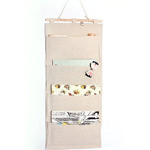 Co-link&Linen/Cotton Fabric Wall Door Cloth Hanging Storage Pockets Books Organizational Back to School Office Bedroom kitchen rectangle Home Organizer Gift (4 pocket) by Co-link