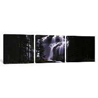 "iCanvasART 3 Piece Waterfall In A Forest , Banff , Alberta , Canadaキャンバスプリントbyパノラマ写真、36 by 12 "" / 0..."