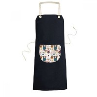 Russia Doll Flower Poster Russia Country Culture Cooking Kitchen Black Bib Aprons With Pocket for...