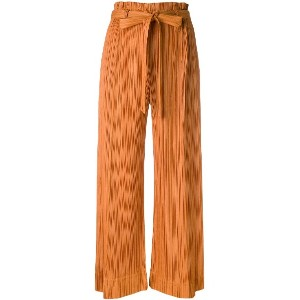 Pleats Please By Issey Miyake pleated wide leg culottes - イエロー&オレンジ