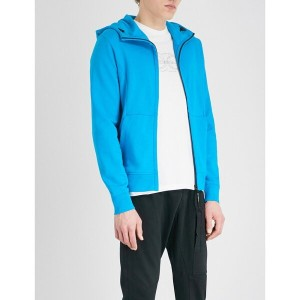 C.P.カンパニー メンズ トップス パーカー【goggle-embellished panelled cotton hoody】Turquoise