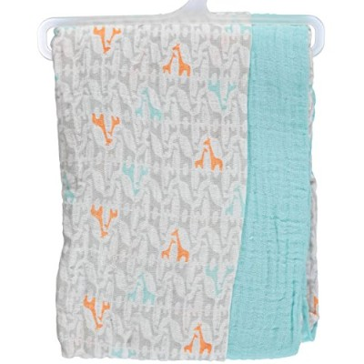 Yoga Sprout Muslin Swaddle Blankets, Teal Giraffe, 46 x 46 by Yoga Sprout