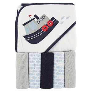 Luvable Friends Hooded Towel and 5 Washcloths, Tugboat by Luvable Friends