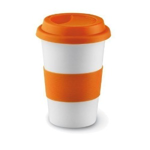 eBuyGB 400 mlセラミックTakeaway Travel Mug with Silicone Lid オレンジ 12138