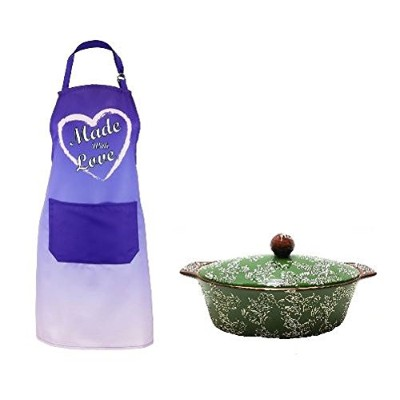 """(Green + Brown) - Oven to Table 2.4l Ceramic Covered Casserole plus """"Made With Love"""" Chefs Apron ..."""