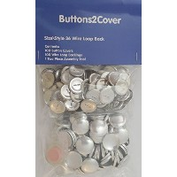 100 Buttons2Cover Cover Buttons with Wire Loop Back Size 36 (7/8) and Assembly Tool Kit by...