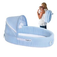 LulyBoo Baby Lounger To Go - Foldable Travel Bassinet - With Canopy, Toy-Bar And Plush Toys (Blue)...