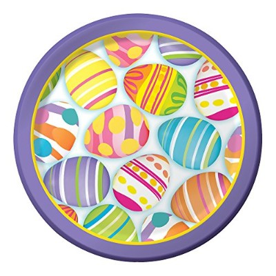 Creative Converting 8 Count頑丈なスタイル紙egg-citement Dinner Plates、8.75インチ、マルチカラー