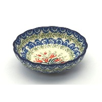Polish Pottery Bowl - Shallow Scalloped - Small - Crimson Bells by Polish Pottery Gallery