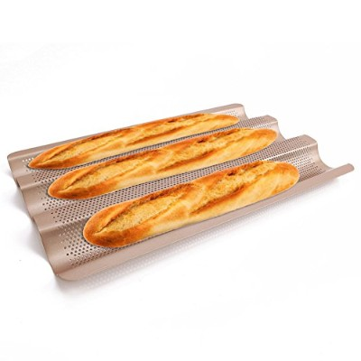 French Bread Pan 38cm Nonstick Large Size Perforated Baguette Pan Gold by LUFEIYA
