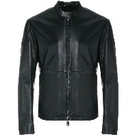 Emporio Armani collarless leather jacket - ブラック