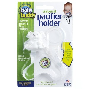Baby Buddy Universal Pacifier Holder, White by Baby Buddy