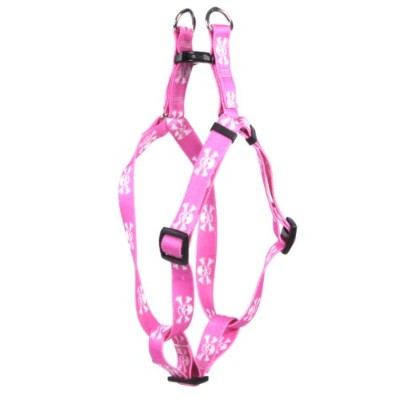 Yellow Dog Design SI-PSK103L Pink Skulls Step-In Harness - Large