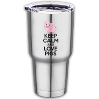 Keep Calm and Love Pigsステンレススチールタンブラーwith Spill Proof Straw Lid、二重壁真空断熱旅行マグ30オンスで飲み物または寒い日...