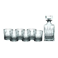 Royal Doulton Earlswood Whiskey Decanter &タンブラー( Set of 6)、クリア