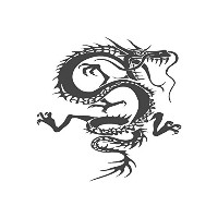 Chinese Dragon、pre-inkedイメージゴム製スタンプ( # 430209 ) Stamp size (30x30mm) グリーン