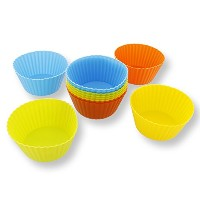 Silicone Cupcake Liners - 12-Pack Reusable Assorted Baking Cups 4-inches by Juvale