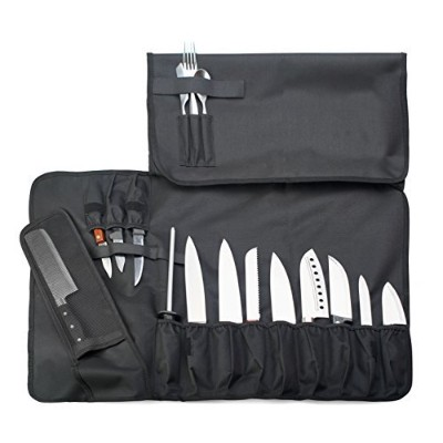 EVERPRIDE Knife Roll Bag For Chefs (16 Slots) Holds 12 Knives, 1 Meat Cleaver, And 3 Utensil...