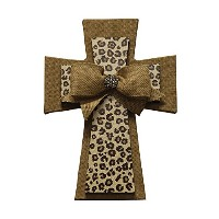 """The Faithコレクション黄麻布とLeopard Mdf Layered Cross with Bow、14"""""""