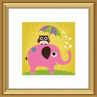 Printfinders Wall Decor, Elephant and Owl with Umbrella by Barewalls