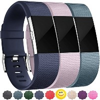 Wepro Fitbit Charge 2用取り替えバンド 空気穴つき Fitbit Charge 2 HR用 15色 バックル L/Sサイズ L レッド