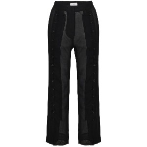 Beau Souci sheer virgin wool blend cropped trousers - ブラック