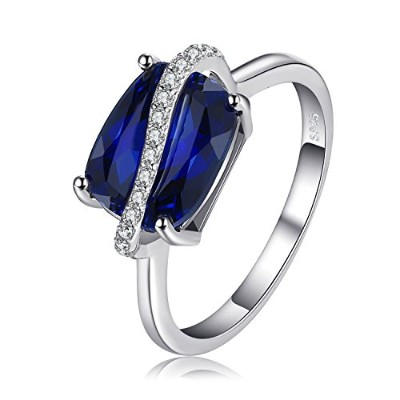 JewelryPalace 長方形 4.26ct 人工 サファイア リング スターリング シルバー925