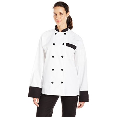 Uncommon Threads 0404-4502 Newport Chef Coat 10 Buttons in White with Black - Small