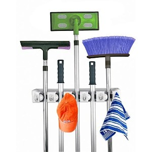 Home- It Mop and Broom Holder Wall Mount Garden Tool Storage Tool Rack Storage & Organization for the Home Plastic Hanger for Closet Garage Organizer Shed Organizer Basement Storage General Storage (5-position) by Home-it