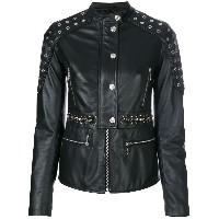 Just Cavalli eyelets embellished leather jacket - ブラック