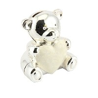 Cute Silver and Ivory Teddy Bear Shaped Money Bank by Haysom Interiors by Haysom Interiors