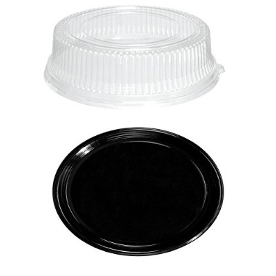 Party Essentials N912422 Soft Plastic 12-Inch Round Flat Serving/Catering Trays, Black with Clear...