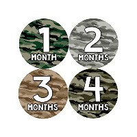 Months in Motion 814 Monthly Baby Stickers Camo Camoflauge Baby Boy Month 1-12 Milestone Age...