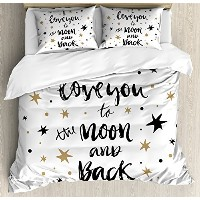 I Love You布団カバーセットby Ambesonne、Hand Drawn I Love You To The Moon And Back Quote with Stars...