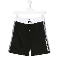 Karl Lagerfeld Kids side stripe swim shorts - ブラック