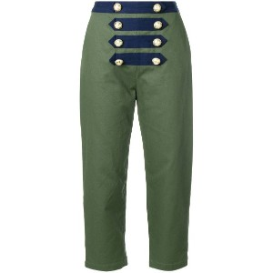 Manoush cropped sailor trousers - グリーン