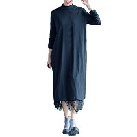 Zhhlinyuan Soft Double Layers 柔らかい Long Loose Dresses Shirt ルーズ with Quality Gauze for Ladies...