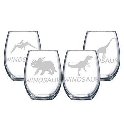 4- 15oz winosaur Etched Stemless Wine Glasses