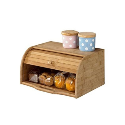 (Bamboo) - Betwoo Natural Wooden Roll Top Bread Box Kitchen Food Storage (Bamboo)