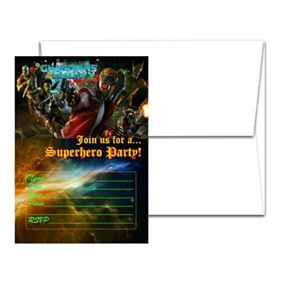 12 Guardians of the Galaxy Birthday Invitation Cards (12 White Envelops Included) 1