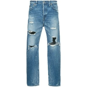 H Beauty & Youth ripped straight leg jeans - ブルー