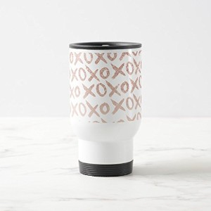 ZazzleモダンローズゴールドブラッシュピンクLove XOXO Typographyコーヒーマグ 15 oz, Travel/Commuter Mug 5b31c5c2-ff8d-f781...