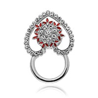 SENFAI Charming Romantic Crystal Red Flower In The Howllowハート磁気眼鏡ホルダー