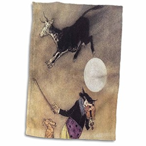 "3dローズPSヴィンテージ – The Cow Jumped Over the Moon Vintage – タオル 15"" x 22"" ホワイト twl_164535_1"