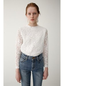 HIGH NECK LACE TOP【マウジー/MOUSSY レディス その他(トップス) WHT ルミネ LUMINE】