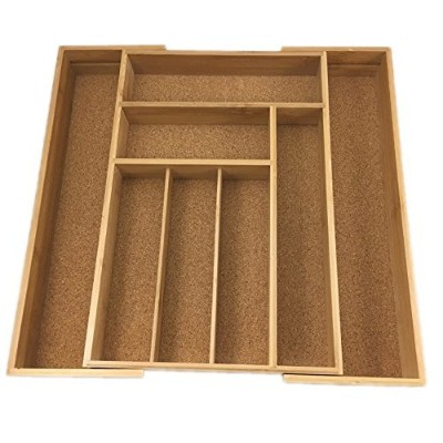 Expandable Bamboo Drawer Organiser Cork Lined Kitchen Cutlery Tray
