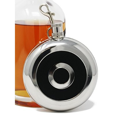 (240ml, Round With Shot Glass) - Premium 240ml, Circular With Cup 304 (18/8) Food Grade Stainless Steel Hip Alcohol Liquor Flask - BPA free and Leak and Rust Proof - Discrete Drinking Gift